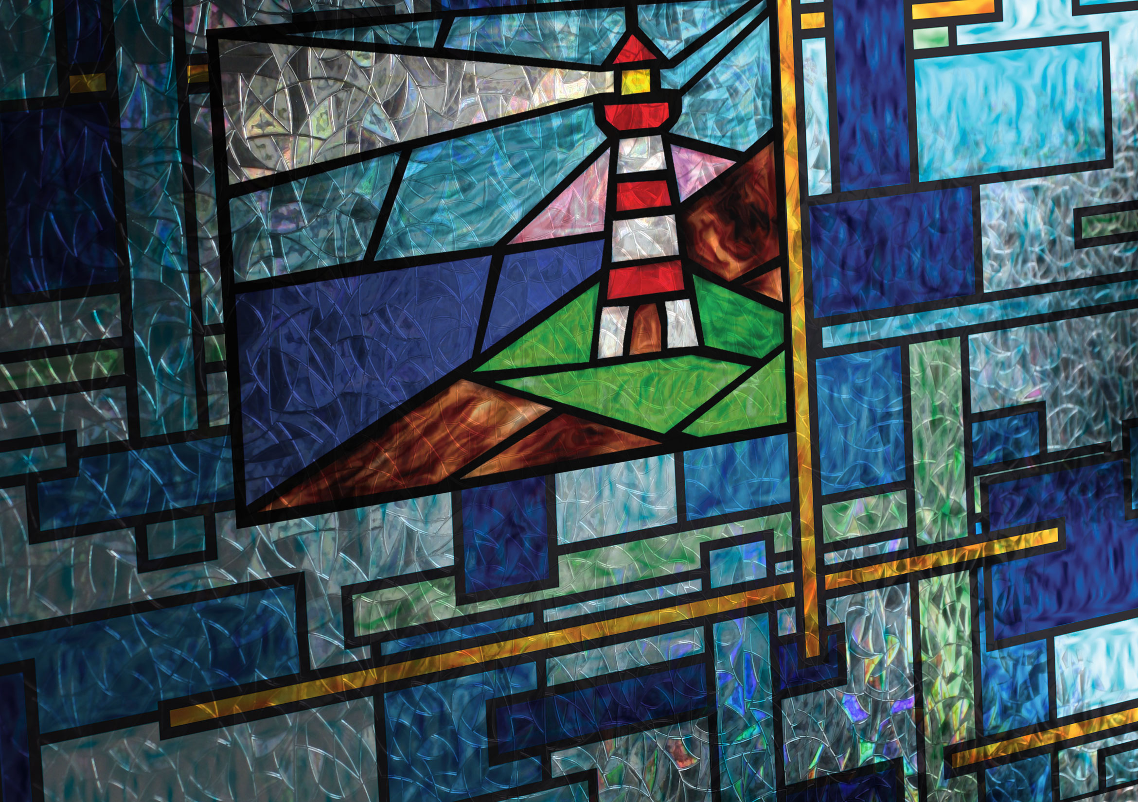 Coastal scenes stained glass window film and more for Stained glass window film