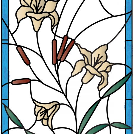 Stained Glass Flowers & Cattails PV09001
