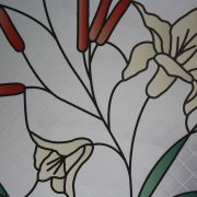Stained Glass Flowers & Cattails on Etched Squares