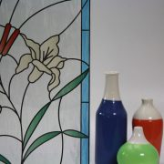 Stained Glass Flowers & Cattails on Feathered