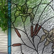 Stained Glass Flowers & Cattails on Rippled