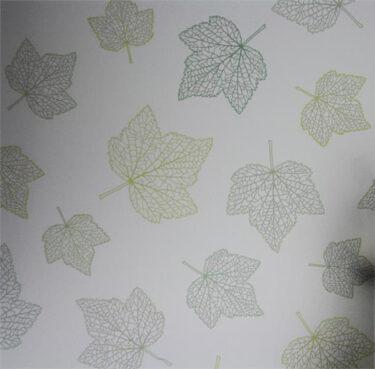 Maple Leaves, Green on Sandblast Static Cling Decorative Window Film