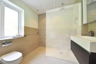 Modern Angled Rectangles - White On Sandblast Decorative Window Film