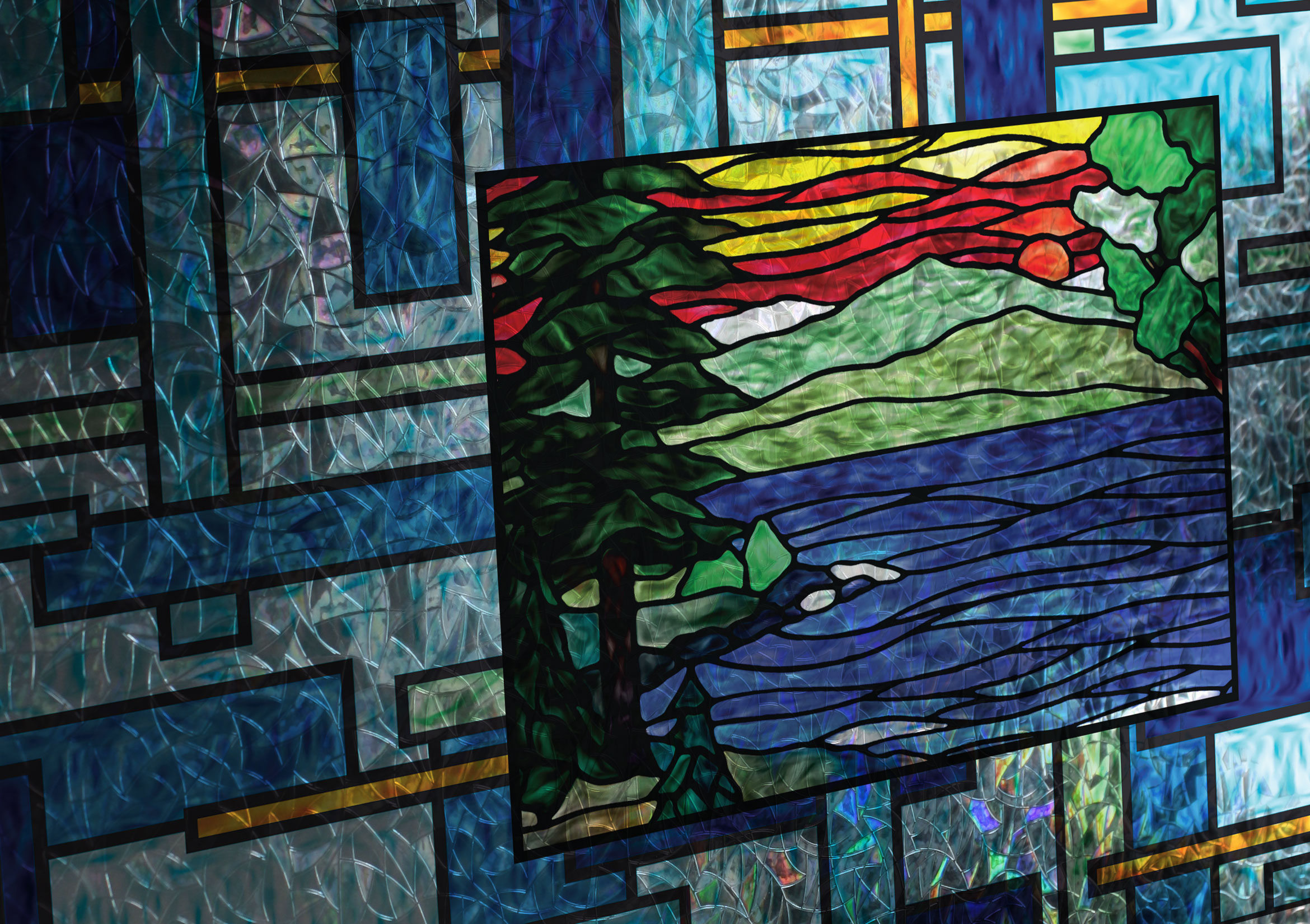 Coastal Scenes Stained Glass Window Film And More